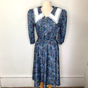 Whirlaway VTG Floral Lace 3/4 Sleeve Dress Sz 12